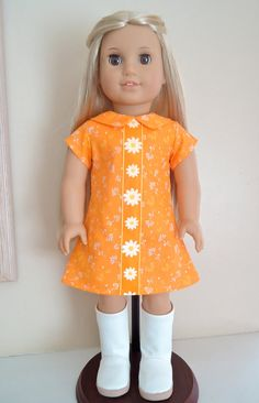 AG Julie Tangerine Summer 1970's Mini Dress by BackInTimeCreations, $24.00