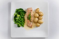 Salmon in Butter and Lemon: 'no recipe, just a guide explaining how to cook these ingredients to perfection. Family Recipes, Family Meals, Light Olive Oil, Non Stick Pan, Cooking Salmon, Frozen Peas, Butter Sauce, In The Flesh, The Dish