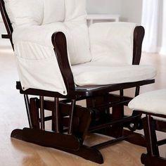 Glider Ottoman Set Bowback Chair Furniture Adult Baby Nursery Espresso Beige