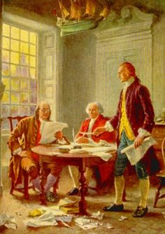 Writing the Declaration of Independence:  Thomas Jefferson has just handed the written sheets to Benjamin Franklin, who is reading them to John Adams.
