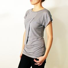 Gray draped shirt Summer tee Gray short sleeve shirt by dressign, €33.00