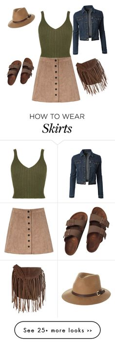 """Button down skirt"" by keilynx on Polyvore featuring LE3NO, Glamorous, Birkenstock and Rusty"