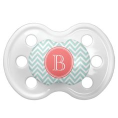 Mint and Coral Chevron with Custom Monogram Pacifiers