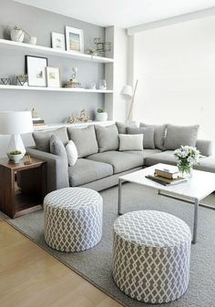 57 Impressive Small Living Room Ideas For Apartment. Are you looking for interior decorating ideas to use in a small living room? Small living rooms can look just as attractive . Small Living Room Furniture, Living Room On A Budget, Chic Living Room, Small Living Rooms, Living Room Grey, Living Room Modern, Living Room Designs, Living Room Decor, Minimal Living