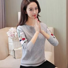 Women Casual O-Neck Thin Sweater Female Long Sleeve Slim Knitwear Floral Spring Fall Embroidery Flower Knitting Pullovers