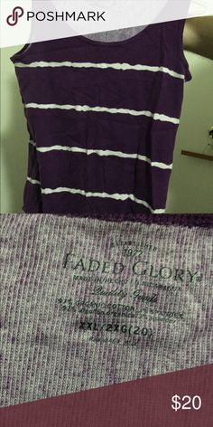 Purple/white tank top 2x NEVER WORN Never worn Faded Glory Tops Tank Tops