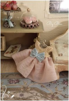 OOAK 1:12 baby dress miniature - dolls house - hand made - shabby chic style