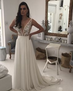Our new fitted NALA gown with a soft georgette detachable overskirt for two looks in one ✨ Hello Venue Formal Dresses, Wedding Dresses, Beach House, That Look, Gowns, Bridal, Fitness, Instagram, Fashion