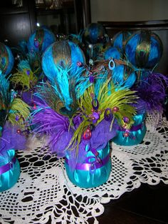 Peacock Wedding Reception Table Centerpiece by sljbridal on Etsy, $30.00