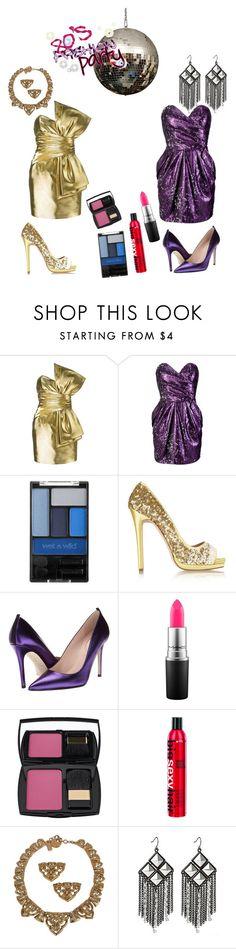 """Metallic 80's prom"" by saskatoonmommy ❤ liked on Polyvore featuring Yves Saint Laurent, Lipsy, Wet n Wild, Oscar de la Renta, SJP, MAC Cosmetics, Lancôme and House of Deréon"