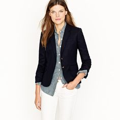 schoolboy blazer in navy + white pants and jean shirt