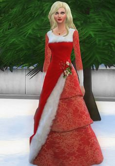 Christmas Gown at Simalicious via Sims 4 Updates