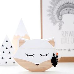 Wooden Animal White Fox Sign Wall Art Decal For Nursery And Kids Room Decor Design Scandinavian Style Photography Props Room Signs, Wall Signs, Kids Decor, Art Decor, Decor Mural, Nursery Decor, Room Decor, Fox Nursery, Nursery Art