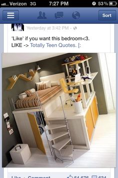 Bedroom idea for small teen rooms, woah that's actually really awesome
