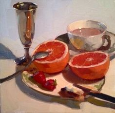 Pretty in Pink Grapefruit by Dennis Perrin Oil ~ 12 x 12