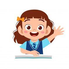 Niño lindo feliz estudiando con profesor | Vector Premium