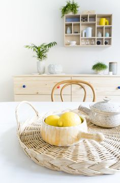 ceramics, pine and rattan for a Summery look