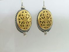 Gold filled silver byzantine hook earrings,vintage style,Greek earrings #etsy #jewelry #earrings #gold #oval #silver #women #earwire #boho #ovalearrings http://etsy.me/2HMK8Mq