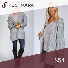 """FLASH SALE Heather Gray Chunky Cable Knit Cardigan Thick chunky knit crochet open knit cardigan. Drop shoulders with extra wide long sleeves, 2 knitted front pockets and side slits which look so great with leggings! Material • 65% cotton 35% polyester. Modeling • S/M (32.5"""" length) Sweaters"""