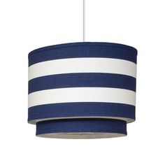 Oilo Pendant Lighting Striped Cobalt Cylinder Double - modern - pendant lighting - Layla Grayce for the nursery Pendant Lamp, Pendant Lighting, Ceiling Pendant, Light Pendant, Chandeliers, Nautical Bathrooms, Baby Kind, Drum Shade, Blue Stripes