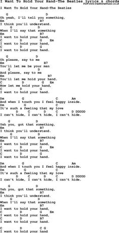 Piano Chords Chart Love Song Lyrics for: I Want To Hold Your Hand-The Beatles with chords for Ukulele, Guitar Banjo etc. Song Lyrics And Chords, Easy Guitar Songs, Guitar Chords For Songs, Music Chords, Love Songs Lyrics, Music Guitar, Music Lyrics, Guitar Diy, Reggae Music