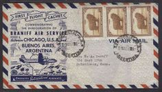 1950 (31 May). Argentina - USA. Bramff first flight. Fkd env cachet. VF reverse xtra cachet in red.  Dealer Antonio M. Torres  Auction Start...