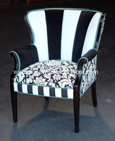 "Custom Order - Upholstered vintage channel back chair - ""Janie's Salt & Pepper Chair"" - SOLD"