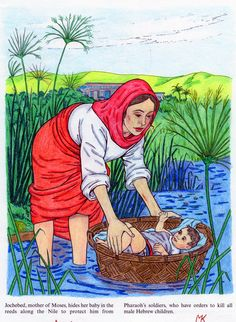 Jochebed, Moses' Mother Hiding Moses in a Basket from 'Women of the Bible'