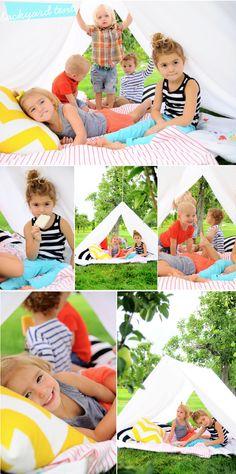A cute summer birthday idea. A tent made from sheets #tent #summer #backyard smallfry-tent3