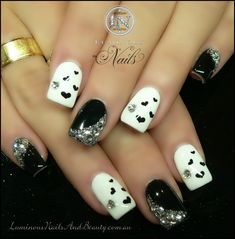 Black  White Nails with hearts  Crystals..