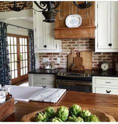 Brick Backsplash Designs For Charming Kitchen - Yellow Kitchen Cabinets, Antique Kitchen Cabinets, Rustic Cabinets, White Cabinets, Yellow Kitchens, Kitchen White, Wood Cabinets, Cob House Kitchen, Cottage Kitchens