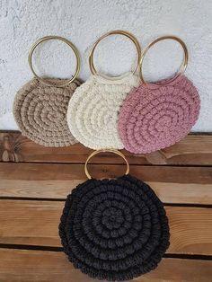 Ulla Johnson Lia Tote Inspired Crochet bag, Tote Metal Hoop Handles, Handmade to order, Tote crochet bag with Metal Handle, Round Handle Bag Tote bag Häkeltasche Tote Metal Hoop Crochet World, Knit Crochet, Crochet Hats, Crochet Handbags, Crochet Purses, Diy Bags Purses, Pouch Pattern, Knitted Bags, Handmade Bags