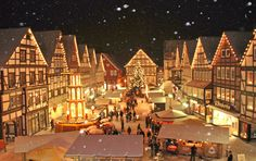 """This is what Christmas looked like to me as a child; this was the """"Weihnachtsfest"""" (Christmas Fest) in the middle of town every year. What Is Christmas, Christmas Scenes, Cozy Christmas, Christmas Lights, Vintage Christmas, Christmas Holidays, Xmas, Holiday Lights, German Christmas Markets"""