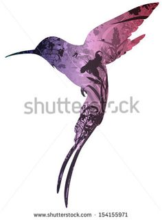 silhouette of colibri in tropical flowers, grass and insects. white background, vector illustration - stock vector