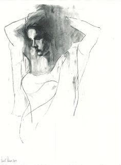"""Saatchi Online Artist: Patrick Palmer; Charcoal, 2010, Drawing """"Girl with hands in hair"""""""