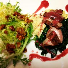 #TGPL Pan Roasted Duck Breast, Orzo Mac & Cheese, Cranberry & Meyer Lemon Sauce, Frisée Salad with Candied Walnuts