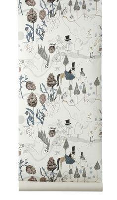 'Mountain Friends' non-woven fleece wallpaper, illustration: Ulrika Gustafsson; via ferm living #kids