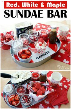 This Canada Day sundae bar has a fun Red, White and Maple theme perfect for celebrating Canada! Delicious ideas for toppings plus easy DIY decorating ideas. Sundae Bar, Sundae Toppings, Canadian Party, Glace Fruit, Canada Day Crafts, Camping Party Decorations, Canada Day Party, Maple Bars, Canada Holiday
