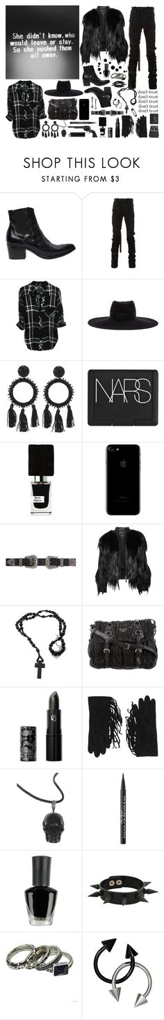 """Someday she will kill you"" by nothingisnormal ❤ liked on Polyvore featuring Alberto Fasciani, Unravel, Maison Michel, Oscar de la Renta, NARS Cosmetics, Nasomatto, B-Low the Belt, Elizabeth and James, Prada and Lipstick Queen"