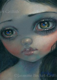 Pastel Portrait 1 Jasmine Becket-Griffith ORIGINAL PAINTING big eye lowbrow art