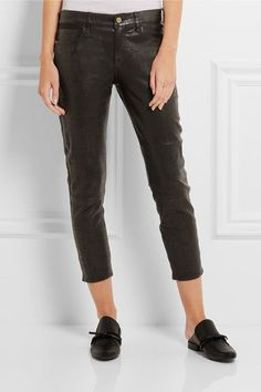 FRAME - Le Garcon Cropped Stretch-leather Slim Boyfriend Pants - Black - 32