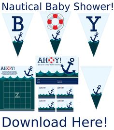 #NauticalBabyShower here is a free nautical theme for your baby shower! Comes with banners, invites, bingo games and toppers.  http://printmybabyshower.com/nautical-baby-shower-games-invites-and-decorations/
