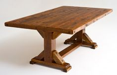 Reclaimed Wood Trestle Dining Table - rustic - dining tables - other metro - Woodland Creek Furniture