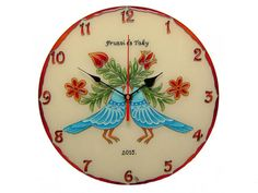 Personalized Wedding Gift Lowebirds Unique Wall Clock,  Hand Painted, Silent, Glass Paiting Clock, Blue Birds of Happiness Unique Wall Clocks, Thing 1, Everyday Objects, Personalized Wedding Gifts, Love Birds, Blue Bird, Free Gifts, Happiness, Anniversary