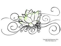 lotus flower tattoo...love the extra scrolling. Would be cute on my foot, but very little or no black