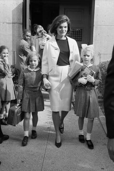 September 17, 1964 - Jackie picks up her daughter, Caroline, and her niece, Sydney Lawford at the Convent of the Sacred Heart in New York City.