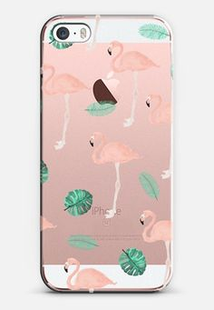 Modern hand painted pink pastel flamingo tropical leaf - iPhone SE case by Girly Trend | @casetify
