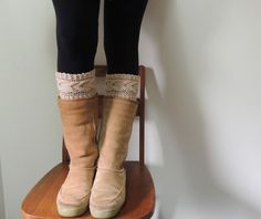 (6) Name: 'Knitting : Cable Boot Cuffs & Cable Headband
