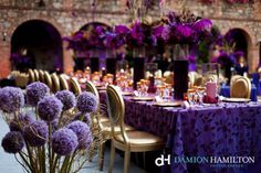Stunning Purple + Gold Décor obviously change the colors, but ive done a wedding with linens like this and its beautiful