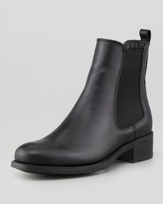 THE MOST PERFECT CHELSEA BOOT -- Not to mention the spitting image of the Chanel ones I want, just without the Chanel logo :( BUT STILL <3 // La Canadienne Sara Leather Chelsea Bootie, Black - Neiman Marcus